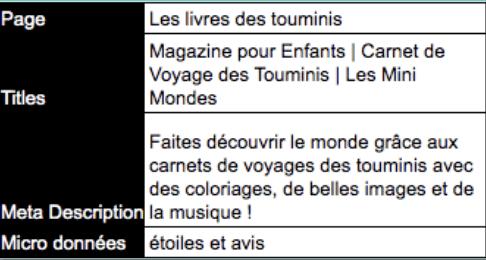 Titles et Meta Description de la page des livres des Touminis