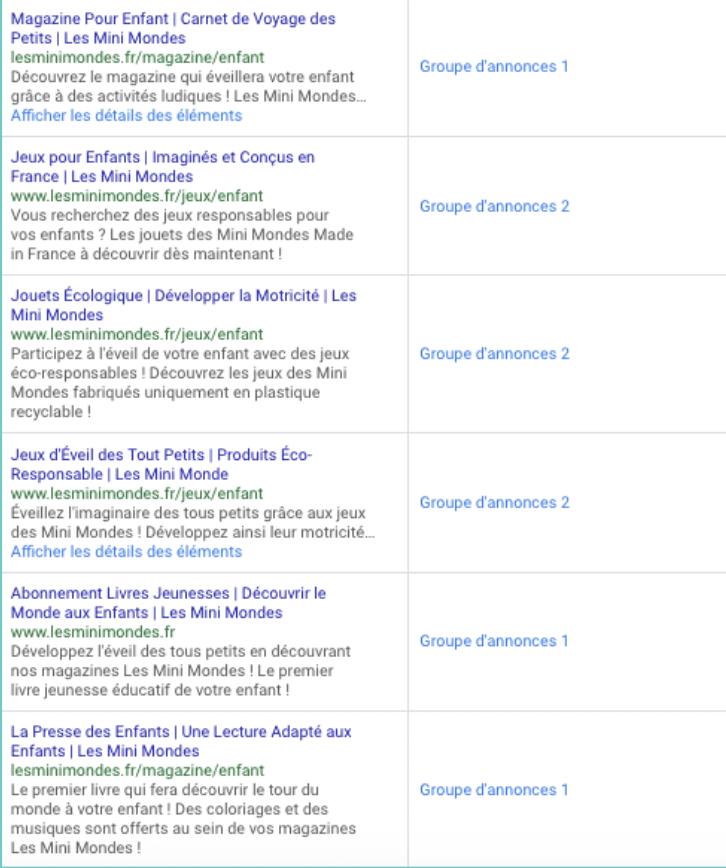 Annonces Google Ads pour le site des Mini Mondes